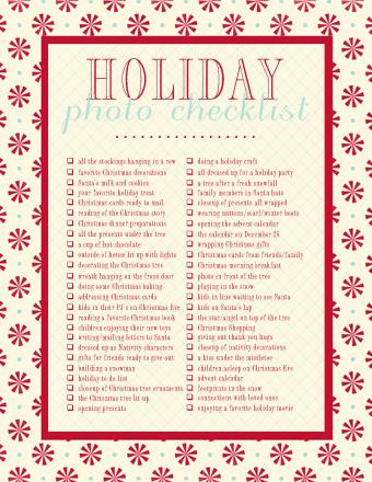 Holiday Photo Checklist Download