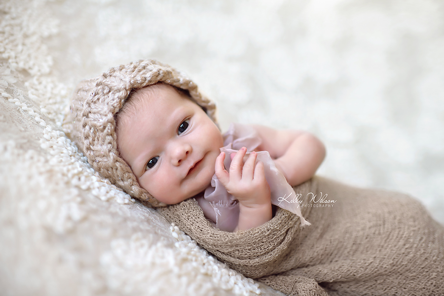 Newborn photography examples when baby is awake