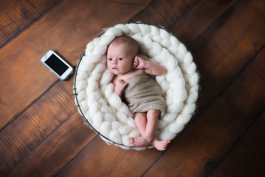 newborn photography examples newborn in basket prop