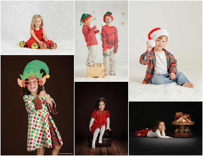 Holiday Mini Sessions using Studio Lighting and Photoshop Bokeh Overlays